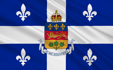 populous: Flag of Quebec is the second-most populous province in Canada Stock Photo