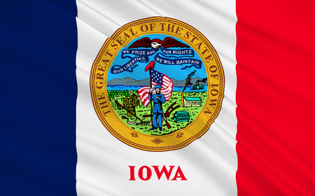 sioux: Flag of Iowa is a U.S. state in the Midwestern United States Stock Photo