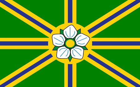 vancouver city: Flag of Abbotsford is a city located in the Fraser Valley region of British Columbia, adjacent to Greater Vancouver Stock Photo