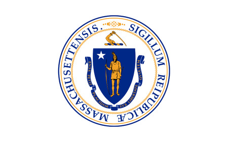 Flag of Massachusetts officially the Commonwealth of Massachusetts, is the most populous state in the New England part of the northeastern region of the United States Фото со стока