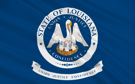 baton rouge: Flag of Louisiana is a state located in the southern region of the United States Stock Photo