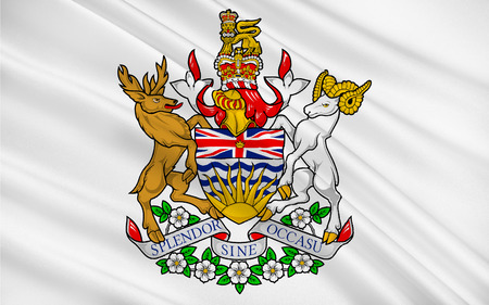 referred: Flag of British Columbia, also commonly referred to by its initials BC, is a province located on the west coast of Canada Stock Photo