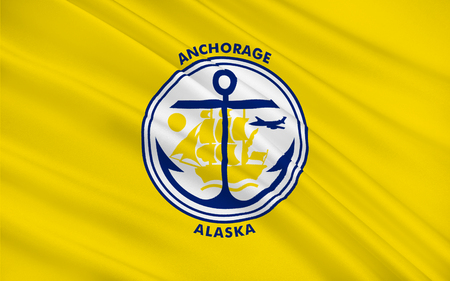 municipality: Flag of Anchorage is a unified home rule municipality in the U.S. State of Alaska Stock Photo