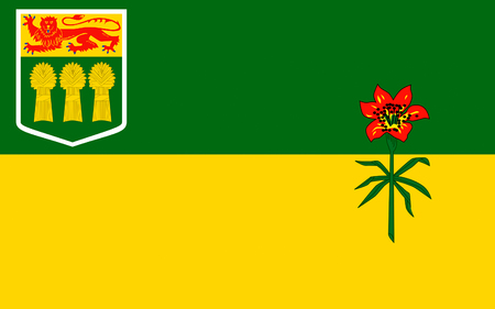 Flag of Saskatchewan is a prairie and boreal province in west-central Canada Stock Photo