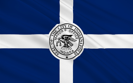indianapolis: Flag of Indianapolis is the capital of the U.S. state of Indiana and the seat of Marion County Stock Photo