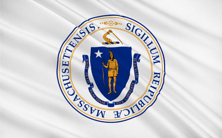 commonwealth: Flag of Massachusetts officially the Commonwealth of Massachusetts, is the most populous state in the New England part of the northeastern region of the United States Stock Photo