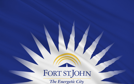 st john: Flag of  City of Fort St. John is a city in northeastern British Columbia, Canada Stock Photo