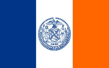 newyork: Flag of New York City or simply New York, is the most populous city in the United States. Located at the southern tip of the State of New York, the city is the center of the New York metropolitan area Stock Photo