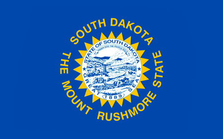 allegiance: Flag of South Dakota is a state located in the Midwestern region of the United States Stock Photo