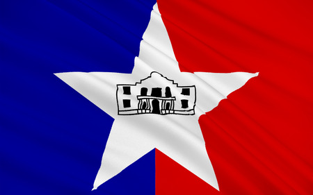 populated: Flag of City of San Antonio, is the seventh most populated city in the United States of America and the second most populated city in the state of Texas Stock Photo