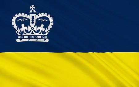 saskatchewan flag: Flag of Regina is the capital city of the Canadian province of Saskatchewan Stock Photo