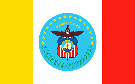 largest: Flag of Columbus is the capital and largest city of the U.S. state of Ohio Stock Photo