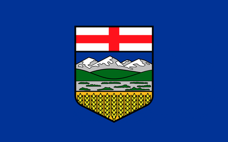 calgary: Flag of Alberta is a western province of Canada Stock Photo