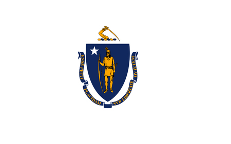 massachusetts: Flag of Massachusetts officially the Commonwealth of Massachusetts, is the most populous state in the New England part of the northeastern region of the United States Stock Photo