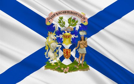 atlantic: Flag of New Scotland, is one of Canadas three Maritime provinces, and one of the four provinces which form Atlantic Canada. Its provincial capital is Halifax Stock Photo