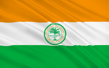 fl: Flag of Miami is a city located on the Atlantic coast in southeastern Florida and the seat of Miami-Dade County
