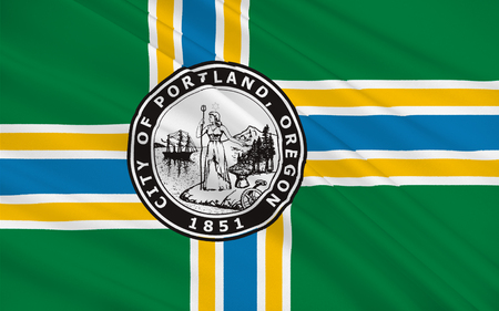 portland: Flag of Portland is the largest city in the U.S. state of Oregon and the seat of Multnomah County Stock Photo
