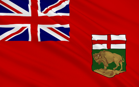 winnipeg: Flag of Manitoba is a province located at the longitudinal centre of Canada Stock Photo