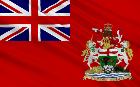 manitoba: Flag of Manitoba is a province located at the longitudinal centre of Canada Stock Photo