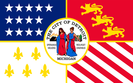 wolverine: Flag of Detroit is the most populous city in the U.S. state of Michigan Stock Photo