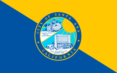 dorado: Flag of Santa Ana is the county seat and second most populous city in Orange County, California, USA Stock Photo