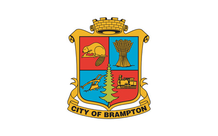 toronto: Flag of Brampton is a city in Southern Ontario, Canada. It is a suburban city in the Greater Toronto Area (GTA) and the seat of Peel Region Stock Photo
