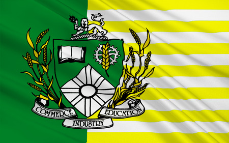 largest: Flag of Saskatoon is the largest city in the Canadian province of Saskatchewan Stock Photo