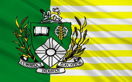 saskatchewan flag: Flag of Saskatoon is the largest city in the Canadian province of Saskatchewan Stock Photo