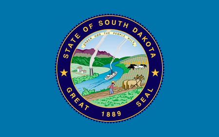 sioux: Flag of South Dakota is a state located in the Midwestern region of the United States Stock Photo