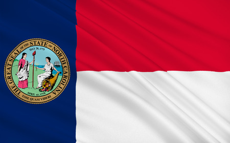 north carolina: Flag of North Carolina is a state in the southeastern region of the United States Stock Photo