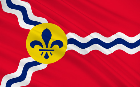 st louis: Flag of St. Louis is a city and port in the U.S. state of Missouri Stock Photo
