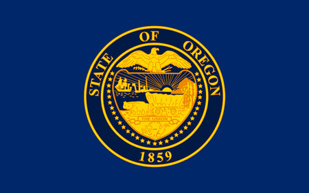 pacific northwest: Flag of Oregon is a state in the Pacific Northwest region of the United States Stock Photo