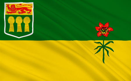 regina: Flag of Saskatchewan is a prairie and boreal province in west-central Canada Stock Photo