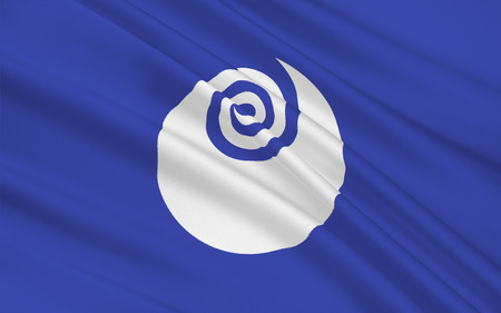 honshu: Flag of Ibaraki Prefecture is a prefecture of Japan, located in the Kanto region on the main island of Honshu. The capital is Mito, 3D rendering Stock Photo