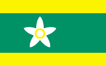 nip: Flag of Ehime Prefecture is a prefecture in northwestern Shikoku, Japan. The capital is Matsuyama. 3D rendering