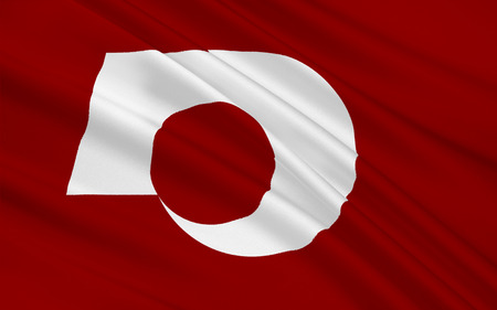 nippon: Flag of Kumamoto Prefecture is a prefecture of Japan located on the island of Kyushu. 3D rendering