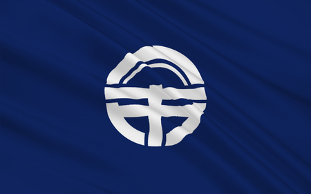shikoku: Flag of Tokushima is the capital city of Tokushima Prefecture on Shikoku island in Japan. 3D rendering Stock Photo