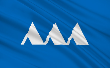 nip: Flag of Yamagata Prefecture is a prefecture of Japan located in the Tohoku region on Honshu island, 3D rendering