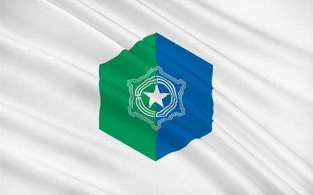 hokkaido: Flag of Sapporo is the fourth largest city in Japan by population, and the largest city on the northern Japanese island of Hokkaido, 3D rendering