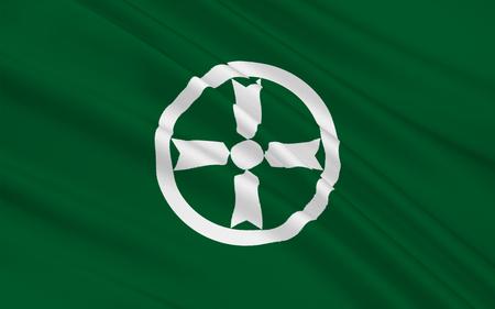 nip: Flag of Akita is the capital city of Akita Prefecture, Japan, 3D rendering