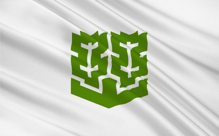 shikoku: Flag of Matsuyama is the capital city of Ehime Prefecture on the island of Shikoku in Japan. 3D rendering