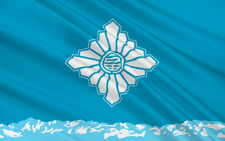 nippon: Flag of Toyama is the capital city of Toyama Prefecture, Japan. 3D rendering