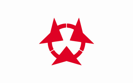 kyushu: Flag of Oita Prefecture is a prefecture of Japan on Kyushu Island. 3D rendering Stock Photo
