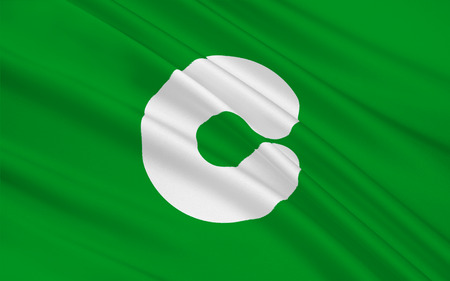 kyushu: Flag of Kumamoto is the capital city of Kumamoto Prefecture on the island of Kyushu, Japan. 3D rendering