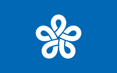 kyushu: Flag of Fukuoka Prefecture is a prefecture of Japan located on Kyushu Island. 3D rendering
