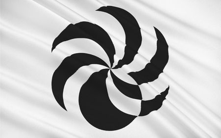 shikoku: Flag of Ehime Prefecture is a prefecture in northwestern Shikoku, Japan. The capital is Matsuyama. 3D rendering