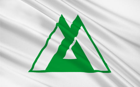 honshu: Flag of Toyama Prefecture is a prefecture of Japan located in the Hokuriku region on the main Honshu island. 3D rendering