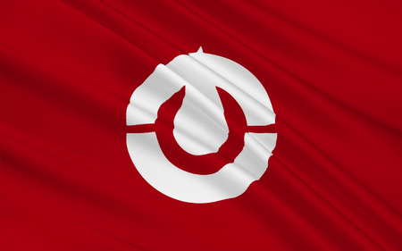 shikoku: Flag of Kochi Prefecture is a prefecture of Japan located on the south coast of Shikoku. 3D rendering