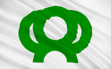 kyushu: Flag of Saga Prefecture is a prefecture in the northwest part of the island of Kyushu, Japan. 3D rendering