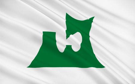 prefecture: Flag of Aomori Prefecture is a prefecture of Japan located in the Tohoku region, 3D rendering